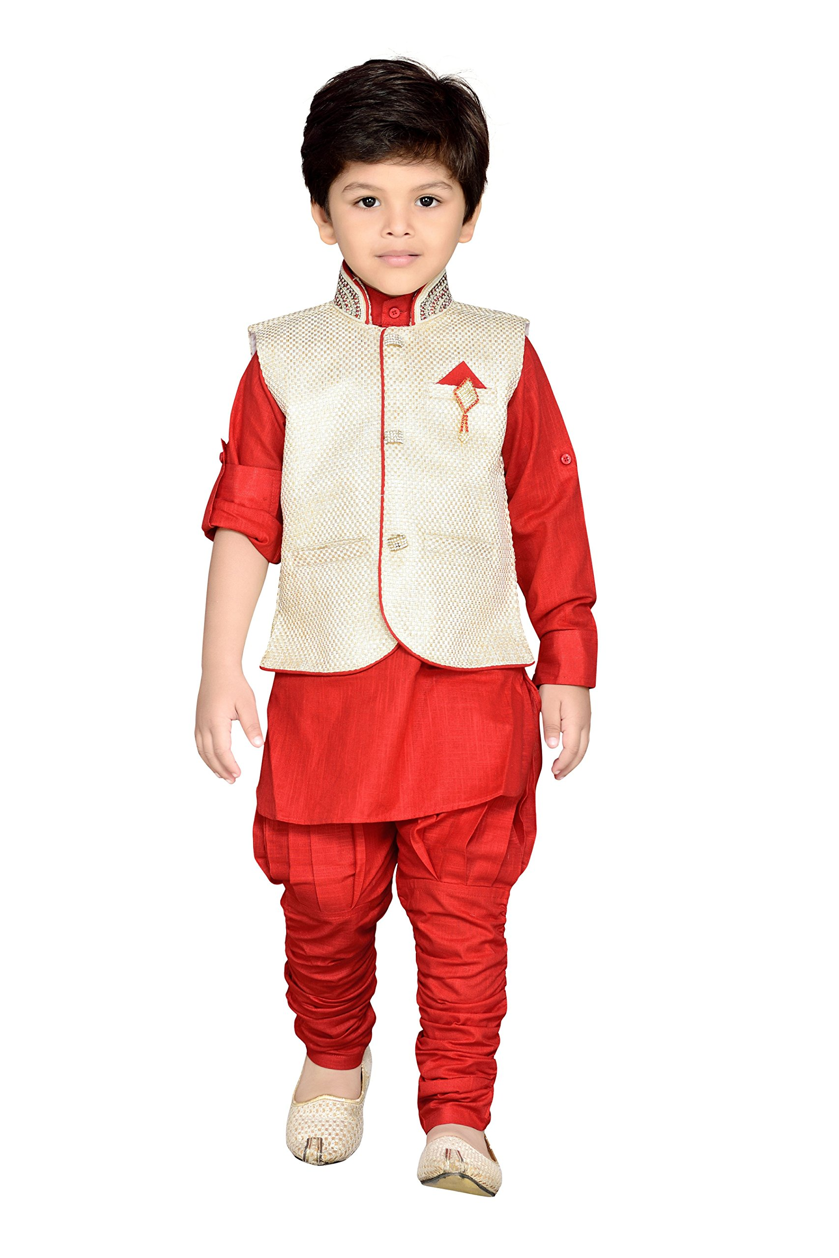 AJ Dezines Kids Indian Wear Bollywood Style Kurta Pyjama Waistcoat for Boys (637-RED-9)