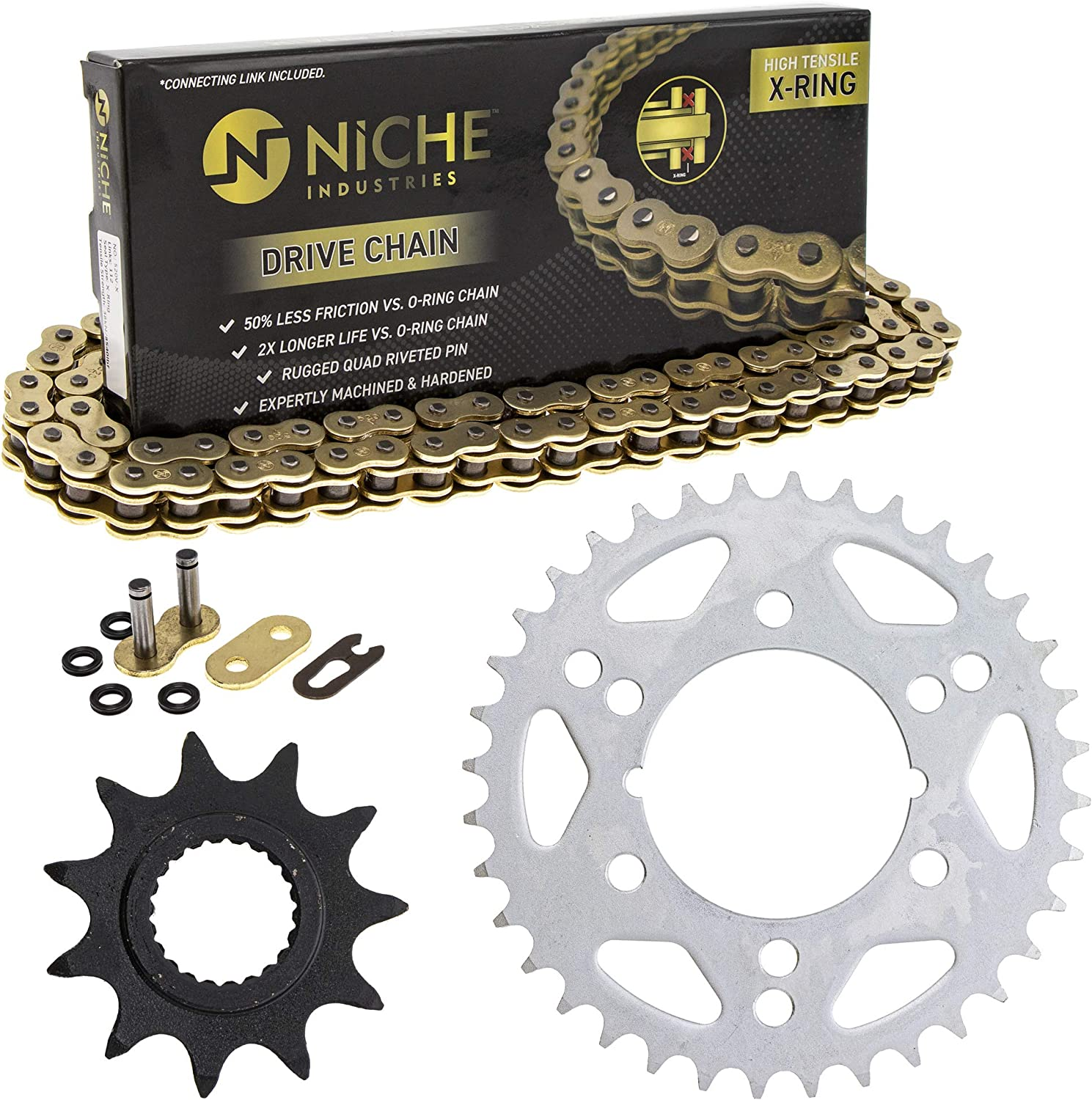 NICHE Drive Sprocket Chain Combo for Polaris Trail Blazer 250 Front 11 Rear 36 Tooth 520V O-Ring 78 Links