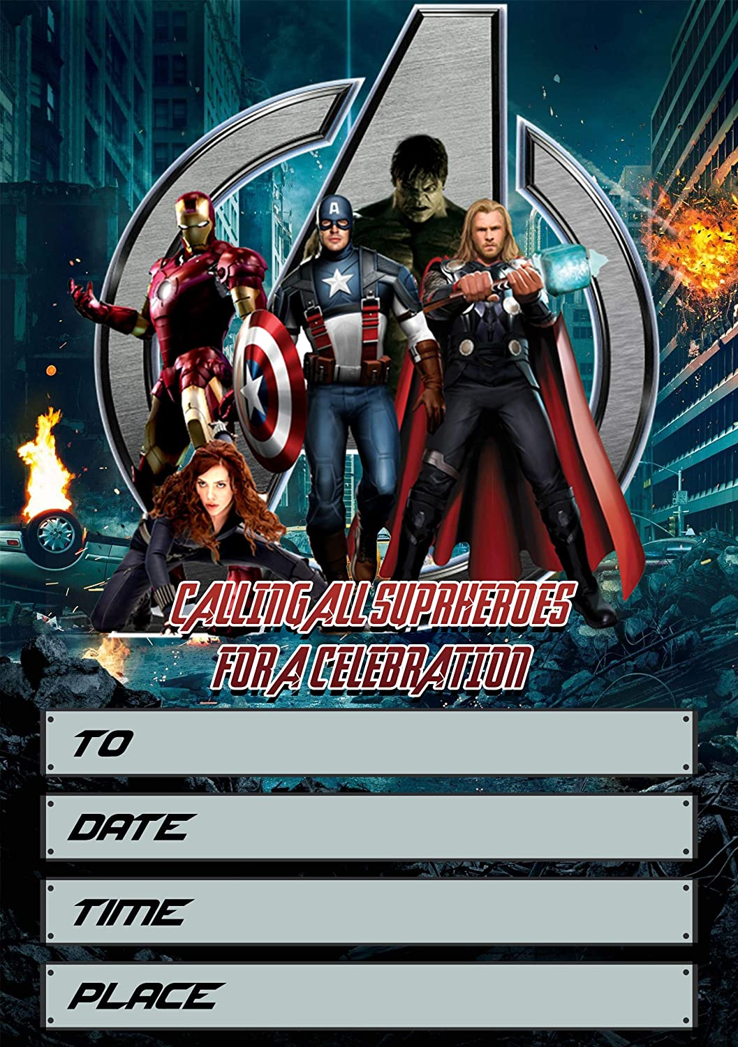 Avengers Invitation Cards – 7 Fill-in Invites for Kids Birthday Bash and  Theme Party, 7X7 cm, Postcard Style
