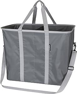 CleverMade SnapBasket Hamper - X-Large Collapsible Pop-Up Laundry Tote with Middle Divider & Adjustable Shoulder Strap, Charcoal/Grey