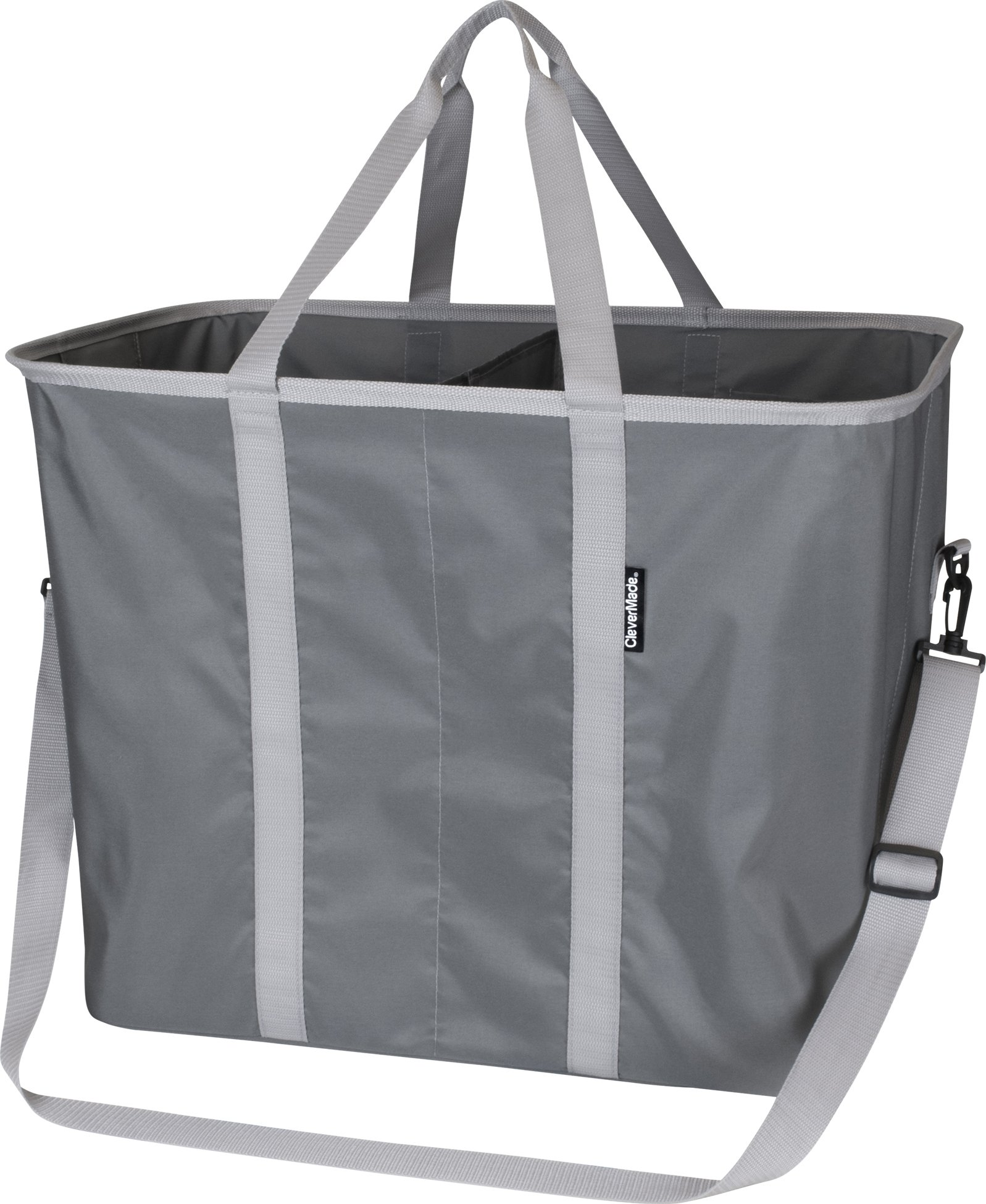 CleverMade SnapBasket Hamper - X-Large Collapsible Pop-Up Laundry Tote with Middle Divider & Adjustable Shoulder Strap, Charcoal/Grey - Hold more than 2 full loads of dirty laundry in one handy, durable carry handles allow for easy trips to the washer and dryer or laundromat Easy to open, these space saving hampers pop-up quickly and fold completely flat for storage in your bedroom, college dorm room or kids rooms Baskets can be used in your closet to store baby clothes, toys, towels, linens or even as a organizer in your home, rv or small apartment - laundry-room, hampers-baskets, entryway-laundry-room - 81zOHdnhSkL -