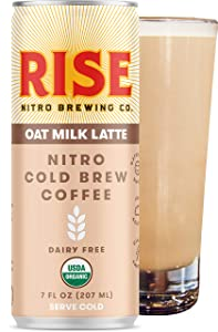 RISE Brewing Co. | Oat Milk Nitro Cold Brew Latte (12 7 fl. oz. Cans) - USDA Organic, Non-GMO | No Sugar Added & Vegan | Draft Nitrogen Pour, Clean Energy, Low Acidity & Refreshingly Smooth