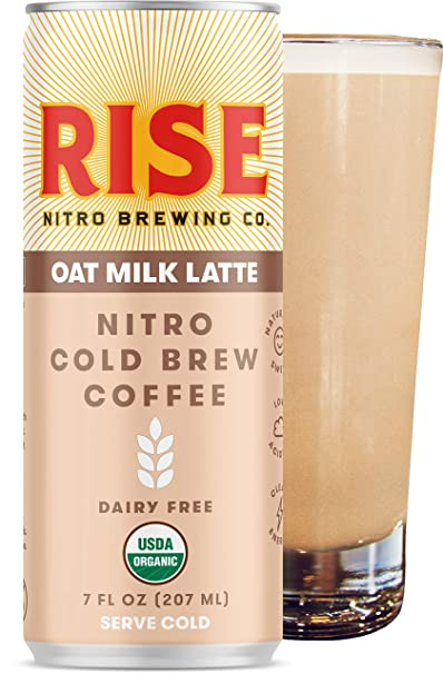 RISE Brewing Co. | Oat Milk Nitro Cold Brew Latte (12 7 fl. oz. Cans) - USDA Organic, Non-GMO | No Sugar Added & Vegan | Draft Nitrogen Pour, Clean Energy, Low Acidity & Refreshingly Smooth