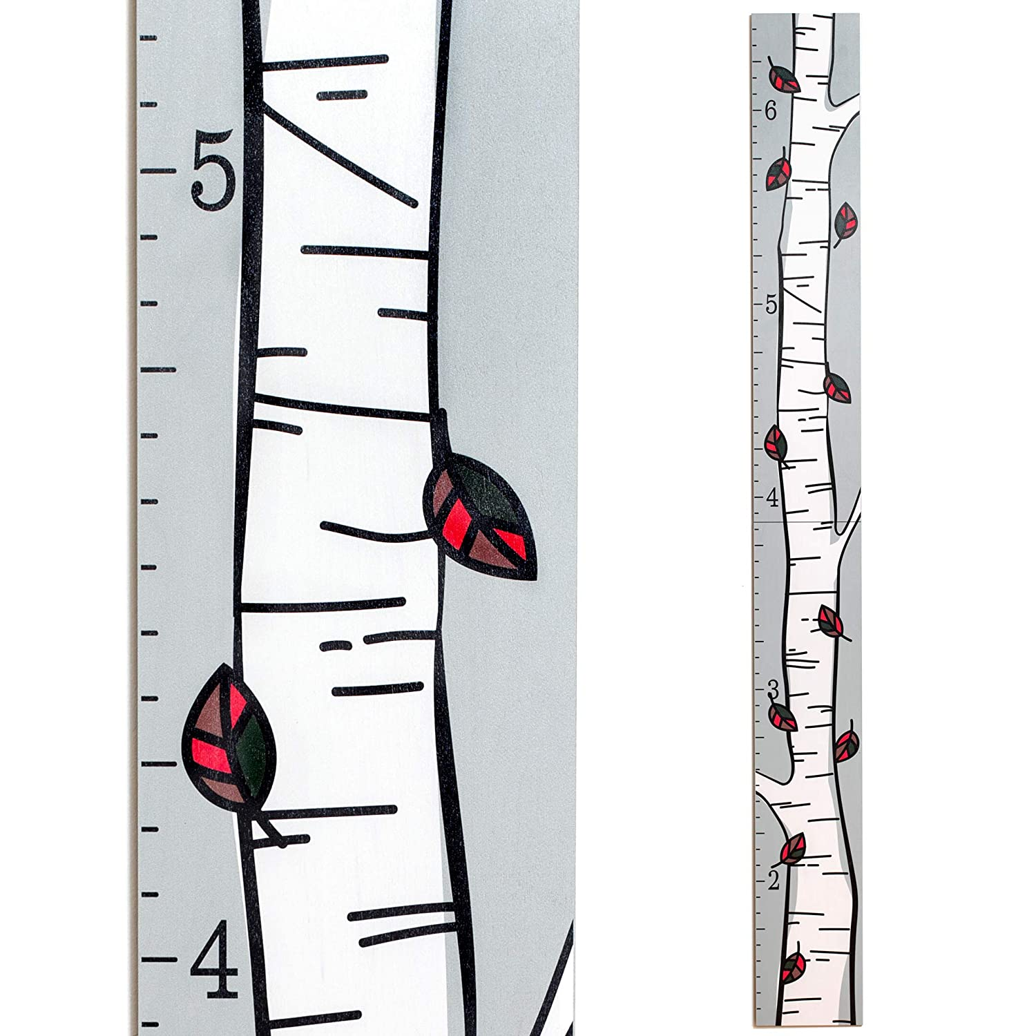 Wooden Birch Tree Growth Chart for Kids [Boys and Girls] | Growth Chart Ruler Kids Height Chart | Measuring Kids Height Wall Decor for Kids(Multi Colored Leaves)