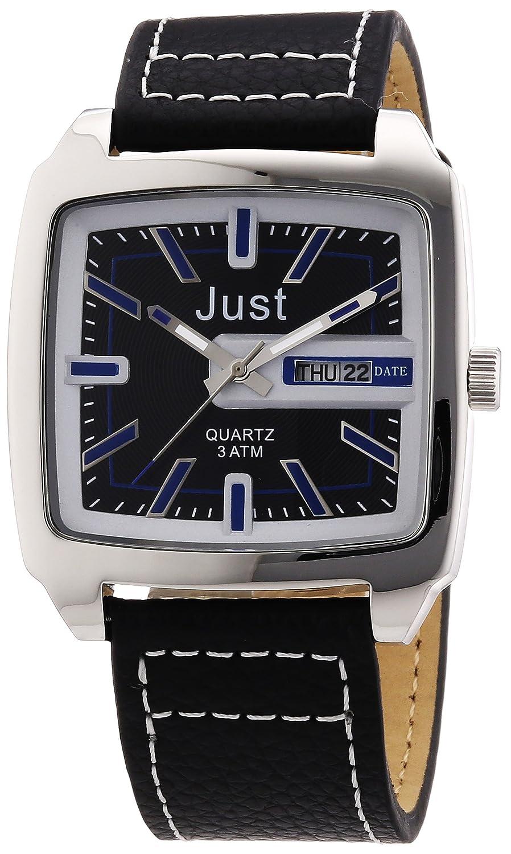 Just Watches 48-S3726-BL - Reloj analógico de Cuarzo para Hombre, Correa de Cuero Color Negro