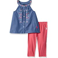 U.S. Polo Assn.. Girls' Fashion Top and Legging Set, Red-3274