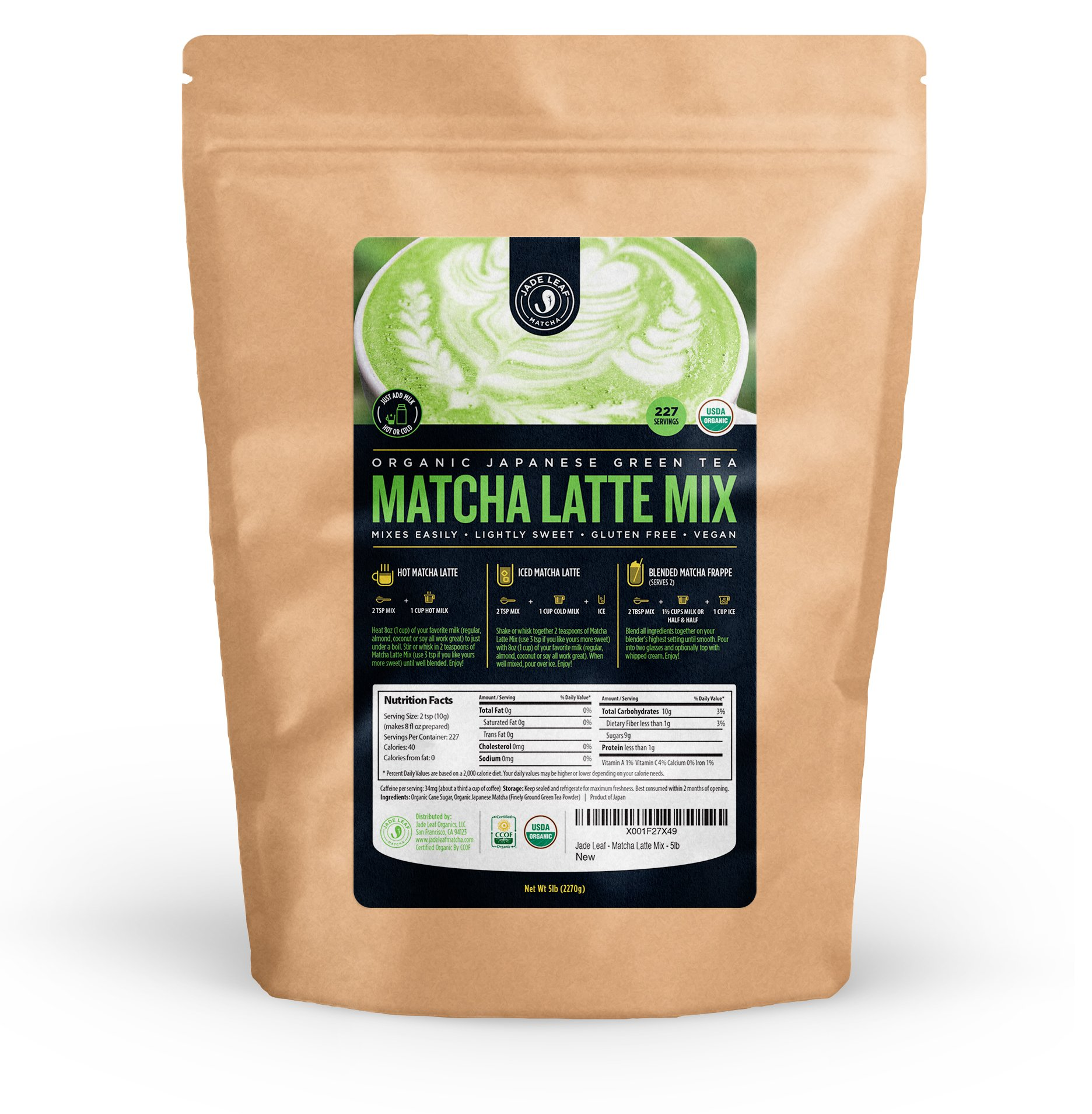 Jade Leaf - Organic Japanese Matcha Latte Mix - Make Delicious Matcha Green Tea Powder Lattes at Home [5lb Bulk Size] by Jade Leaf Organics