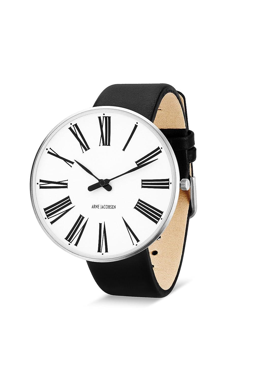 Arne Jacobsen Unisex-Armbanduhr - Quarzuhr - mit weißem analogem Zifferblatt - schwarzes Lederband 53303