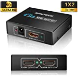 HDMI Splitters Box 丨SOWTECH 2 way/1 in 2 out/1-2/1080p Full HD TV HDMI y Output Splitter Switch Switcher Converter Adapter 1 x 2 for PC Mac HDTV Blue-Ray Play DVD DVR Xbox 360 Sky TV PS4, UK (Black)