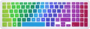 "Silicone Keyboard Cover Skin for 15.6"" Dell Inspiron 15 7567 7577 i3567 i5570 i5577 i5767 i7559 i7577, 15.6"" Dell Inspiron 15 3000 5000 Series, Dell Inspiron 17 5000 Series Like 5748 5749 (Rainbow)"
