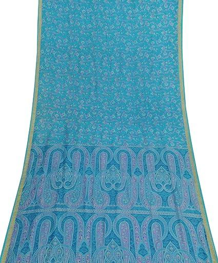 Vintage floral 100% pura seda saree hacer vestido azul sari Craft Fabric, Teal Blau