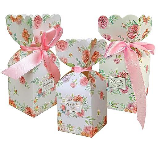 Lontenrealgs 50 Cajas de Caramelos con diseño Floral, Caja ...