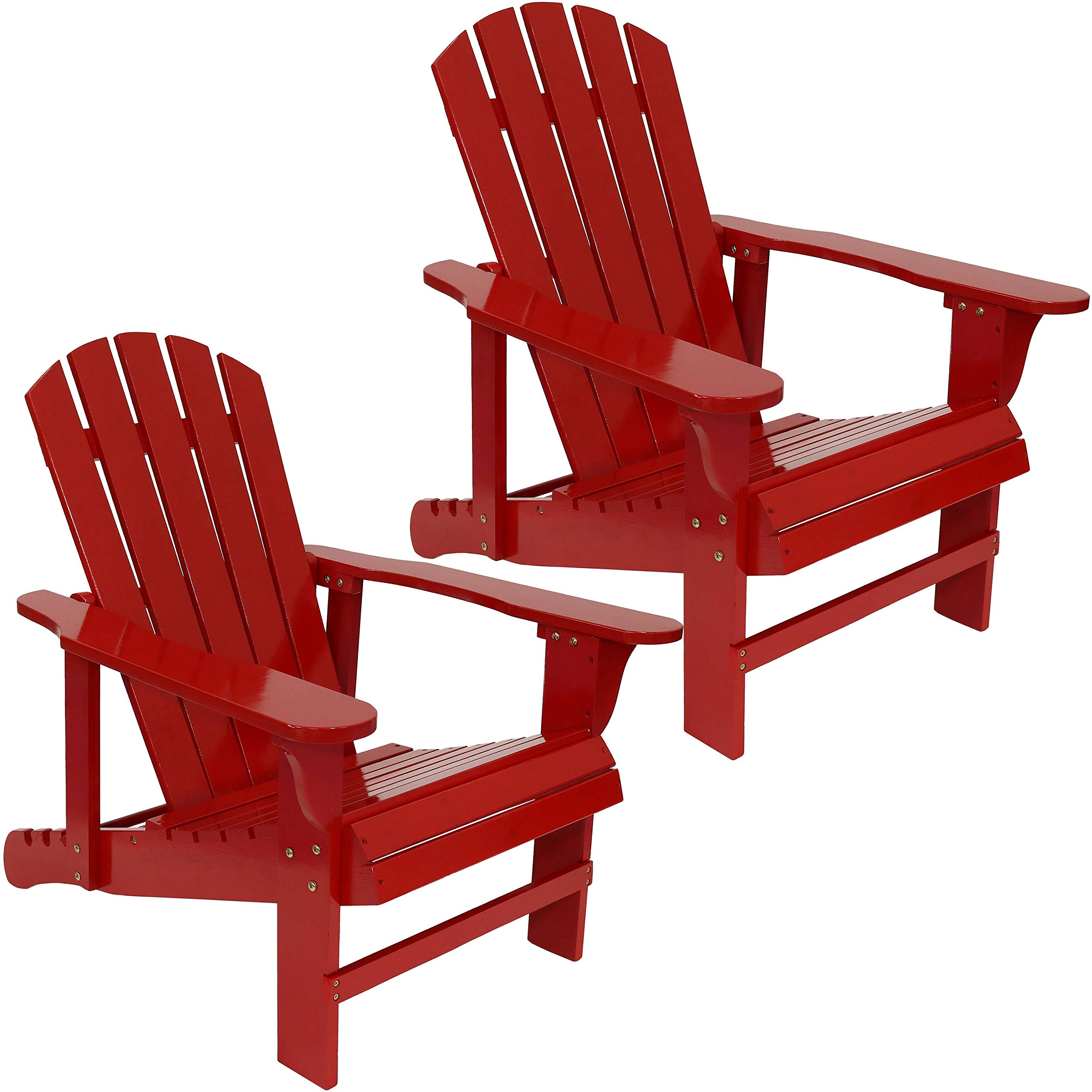 Sunnydaze Wooden Outdoor Adirondack Chair with Adjustable Backrest, 250-Pound Capacity, Set of 2, Red by Sunnydaze Decor