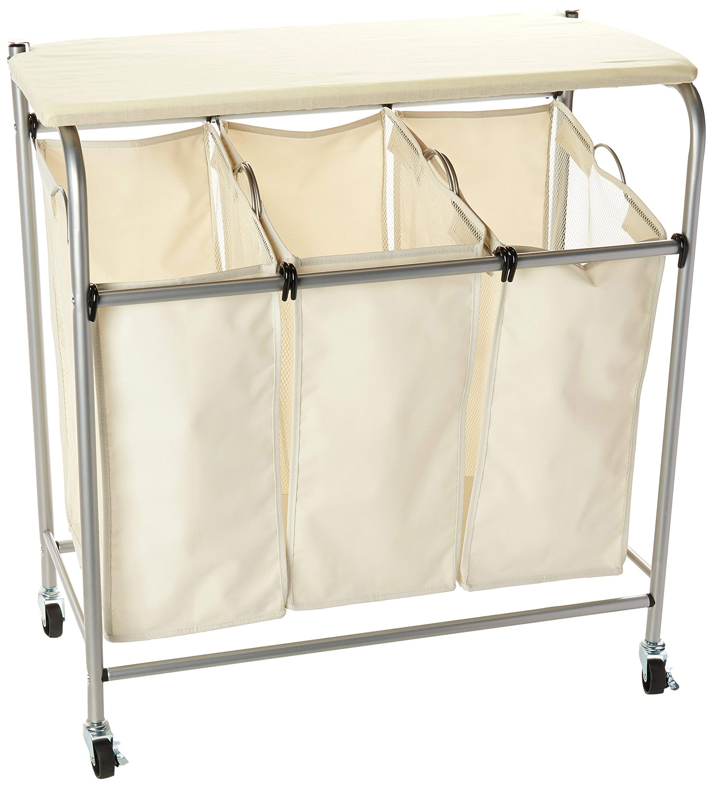 Honey-Can-Do Rolling Laundry Sorter with Ironing Board by Honey-Can-Do