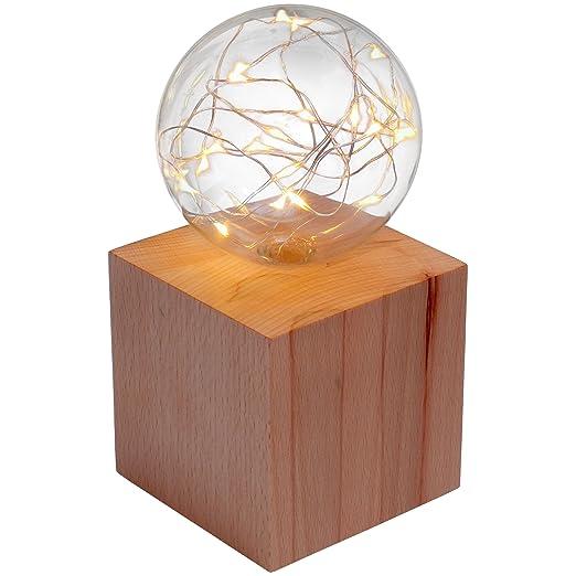 Lindner & Koch® - lámpara de Mesa: Cubo de Madera con Bola de ...
