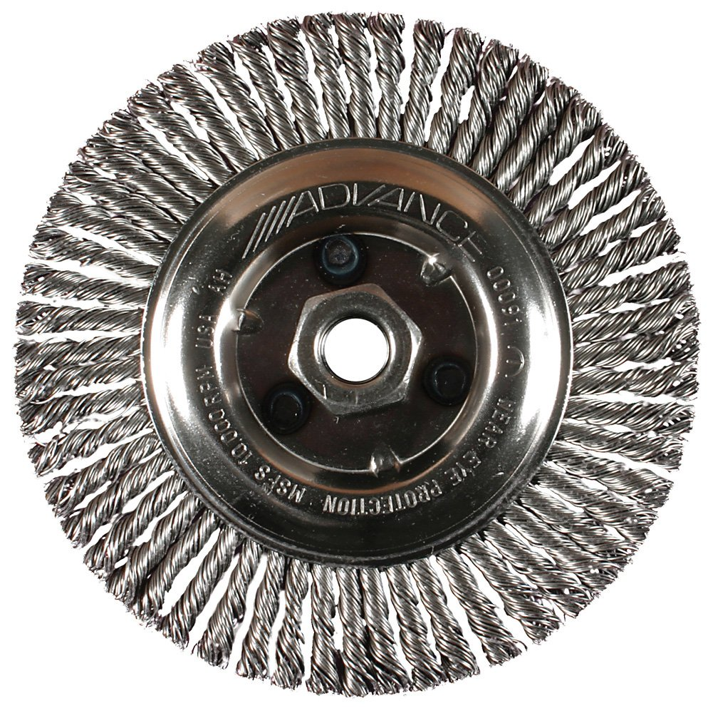 0.020 Wire Size Threaded Hole PFERD 82194 Power Knot Wheel Brush with Stringer Bead Twist 32 Knots 20000 Maximum RPM Carbon Steel Bristles 5//8-11 Thread 4-1//2 Diameter