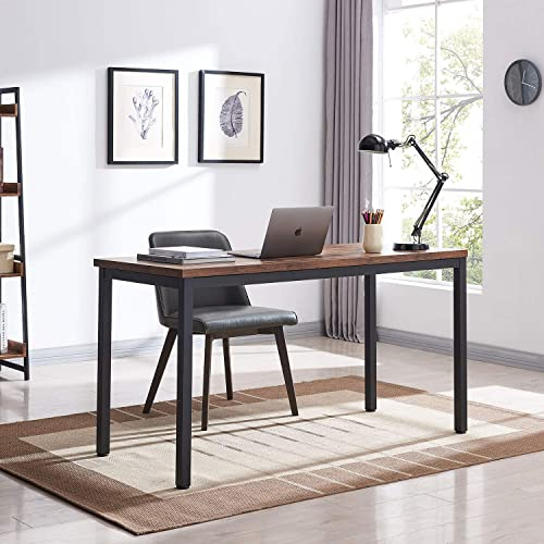 VINEXT 55 Industrial Computer Desk, Writing Desk, Home Office Desk, PC Laptop Table, Simple Study Table, Table for Living or Dining Room, Easy to Assemble, 1.18in 3cm thickened desktop, Rustic Brown