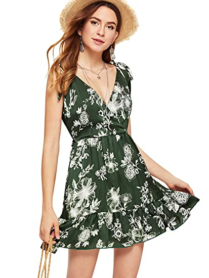 d453c54de79 Romwe Women s Floral Print Tied Strap V Neck Wrap Ruffle Hem Sleeveless  Short Cami Dress at Amazon Women s Clothing store
