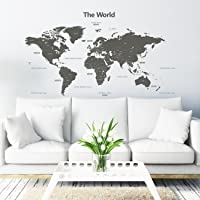 Decowall DLT-1609G Modern Grey World Map Kids Wall Decals Wall Stickers Peel and Stick Removable Wall Stickers for Kids Nursery Bedroom Living Room (Xlarge)…