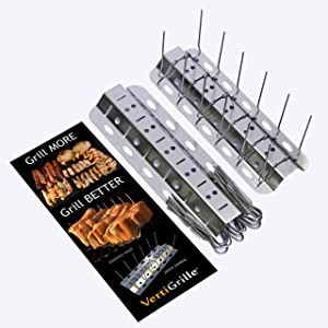 VertiGrille 10-in-1 Grill and Oven Rack (2 Pack) - Rib Rack, Chicken Wing Rack, Salmon Grill, Beer Can Chicken Stand, Jalapeno Grill & More. Stainless. Made in USA. Stores Flat in Kitchen Drawer.
