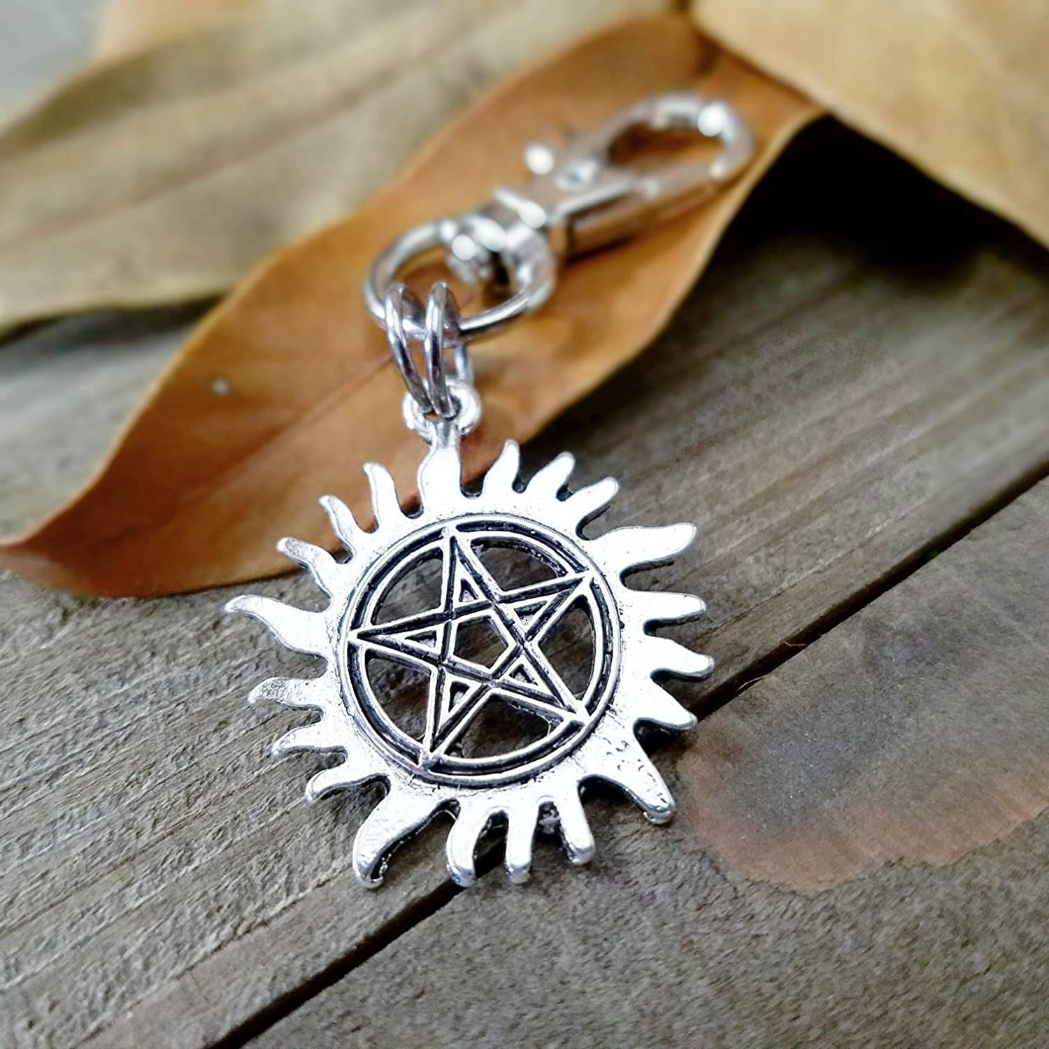 Cosplay | Anti possession | planner charms | Supernatural clip | silver pentacle | keychain | charm clips | cosplay accessories