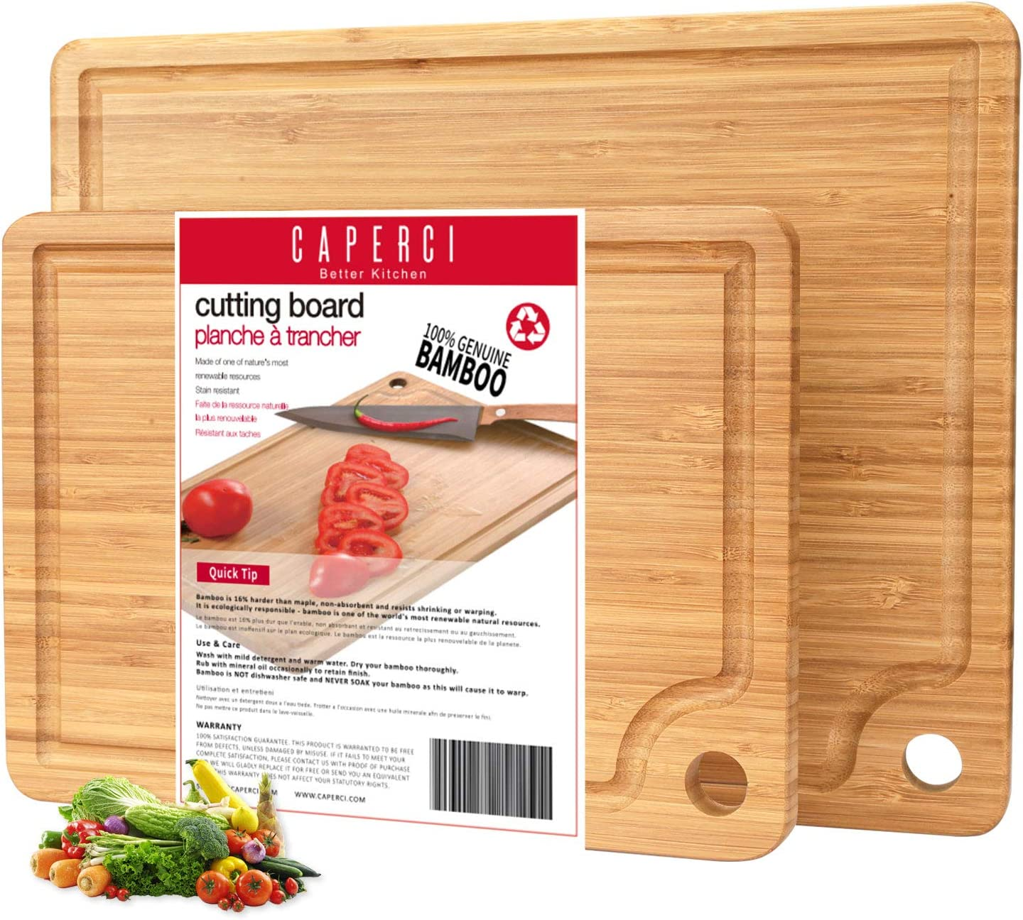 Modern Cutting Board Set - Caperci Optimal 2-Piece Organic Bamboo Chopping Boards for Kitchen Meat Vegetables Cheese Serving (14 x 11 & 11 x 8 Inch)