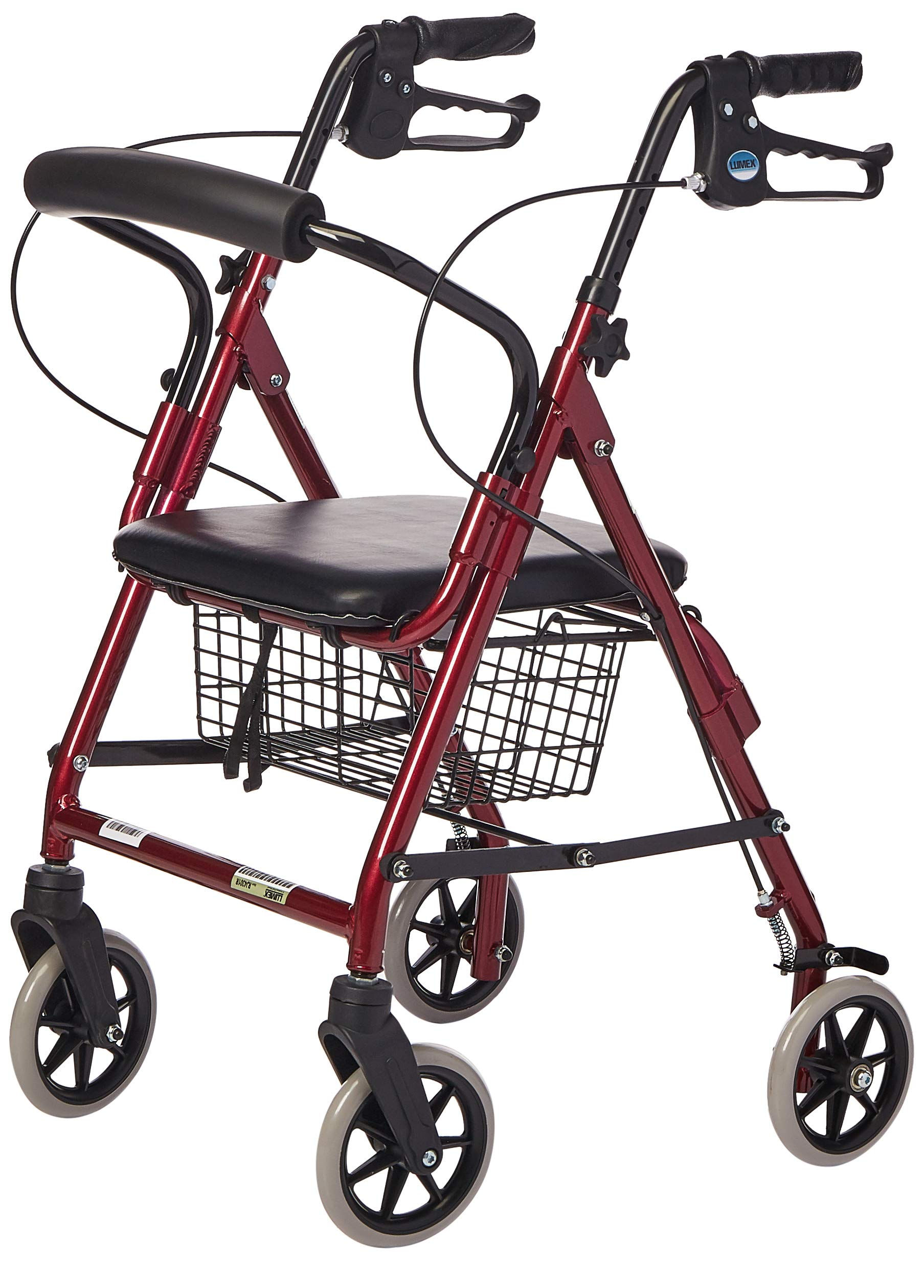 Lumex Walkabout Lite Compact Rollator, Great for Shorter Users and Kids, Burgundy, RJ4301R by Graham-Field