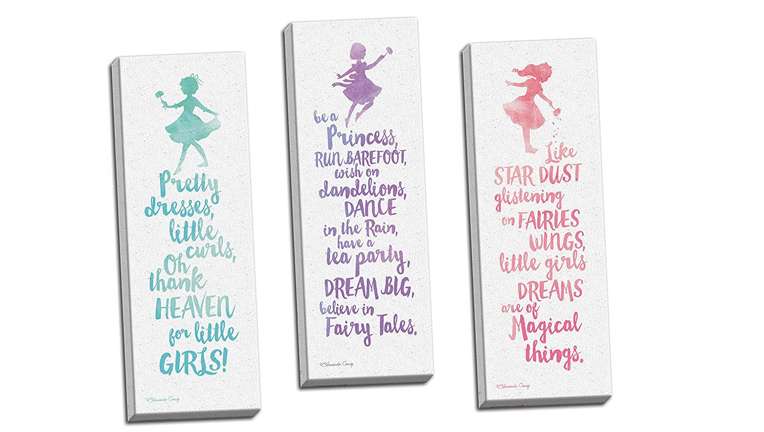 Gango Home Décor Adorable Teal, Pink and Purple Watercolor-Style Little Girl Typography Panel Set; Nursery or Child's Room; Three 8x20in Hand-Stretched Canvas