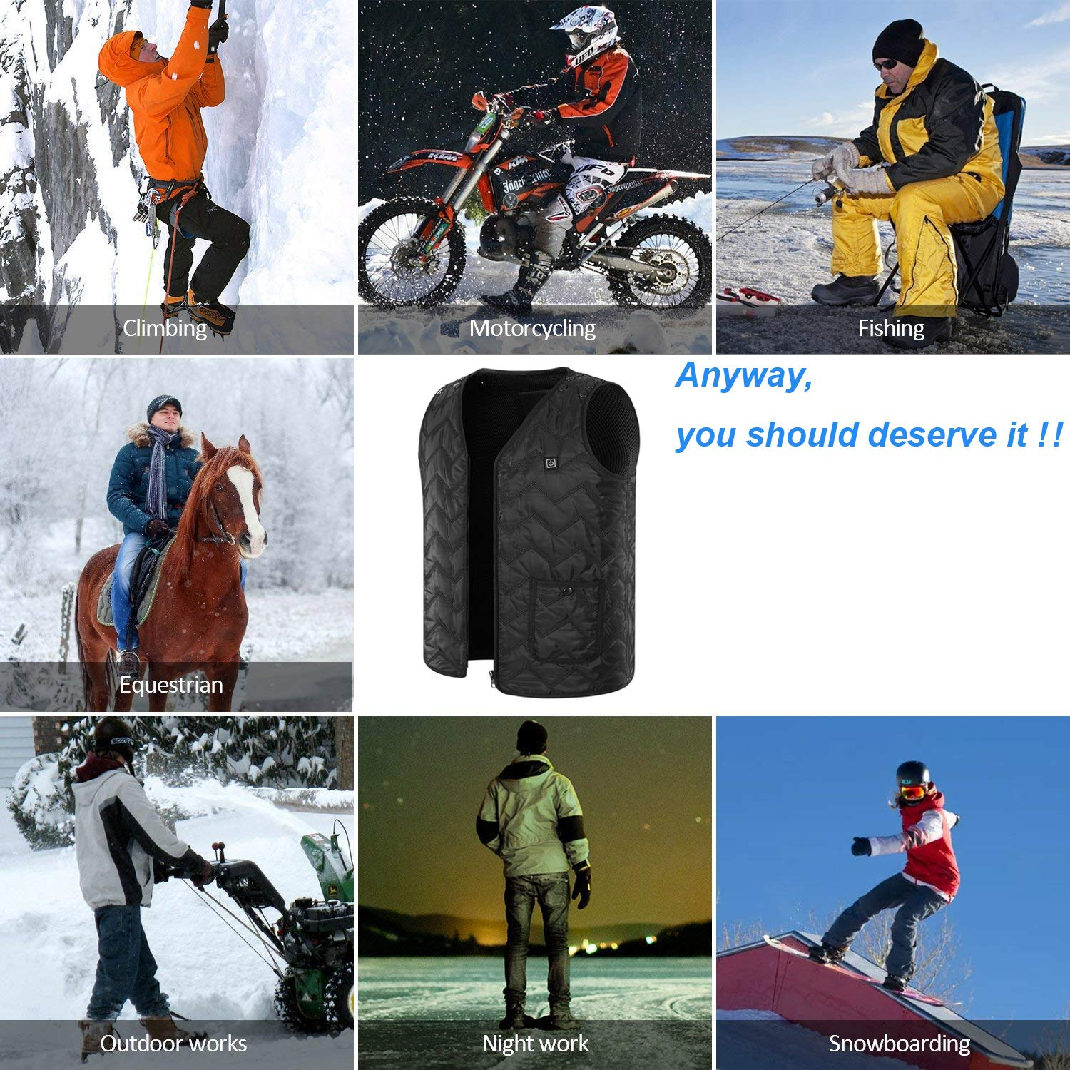 Dolecci Heated Vest Size Adjustable Electric Warm Winter Vest 5V USB Heating Clothing Lightweight Insulated Heated Waistcoat for Outdoor Hiking Black