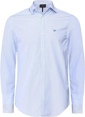 Armani Hombres Camisa de Rayas de algodón popelín Azul Claro L: Amazon.es: Ropa y accesorios