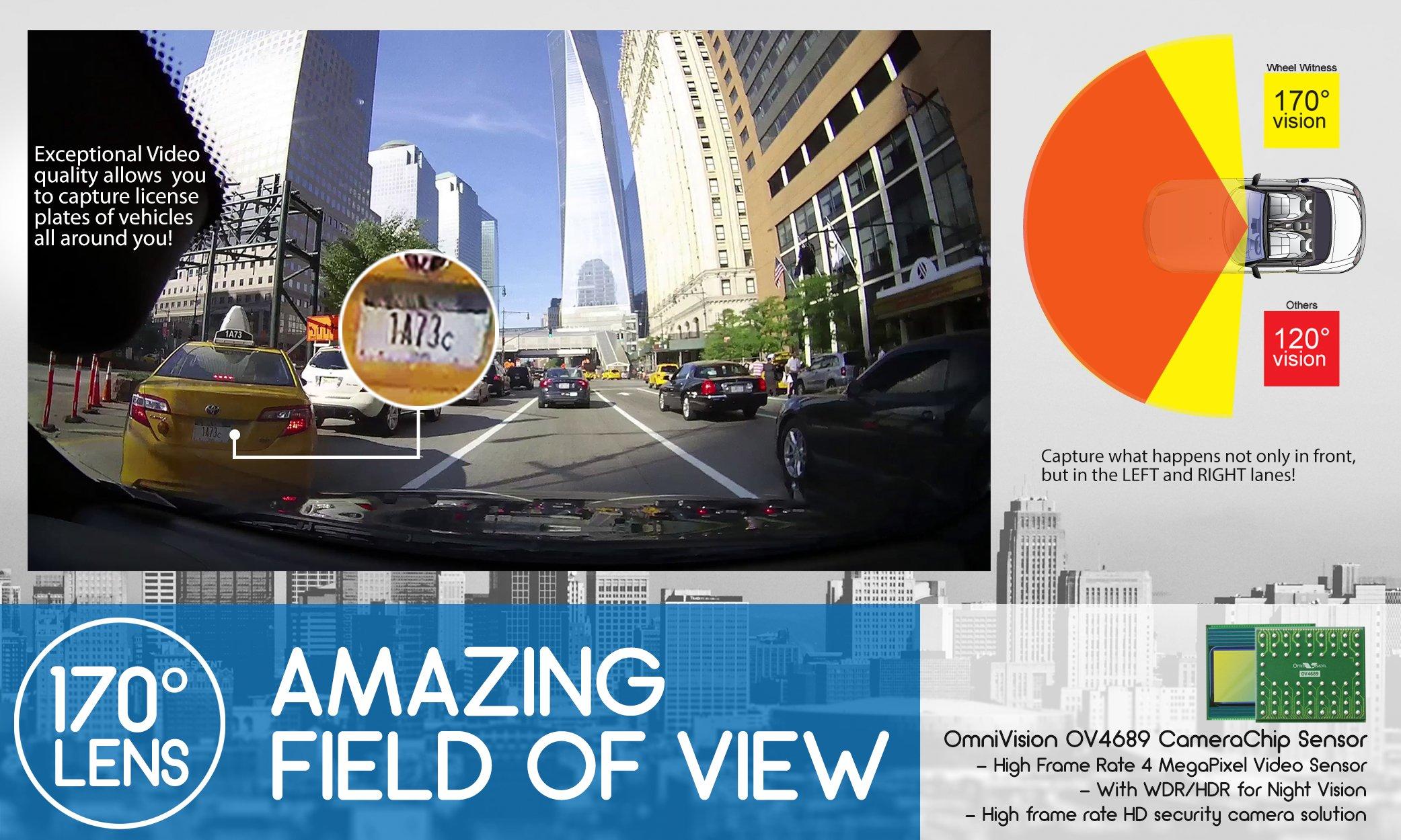 WheelWitness HD PRO Dash Cam with GPS - 2K Super HD - 170° Lens - 16GB microSD - Advanced Driver Assistance - For 12V Cars & Trucks - Night Vision Dashboard Camera Ambarella A7LA50 Car Security DVR by WheelWitness (Image #3)