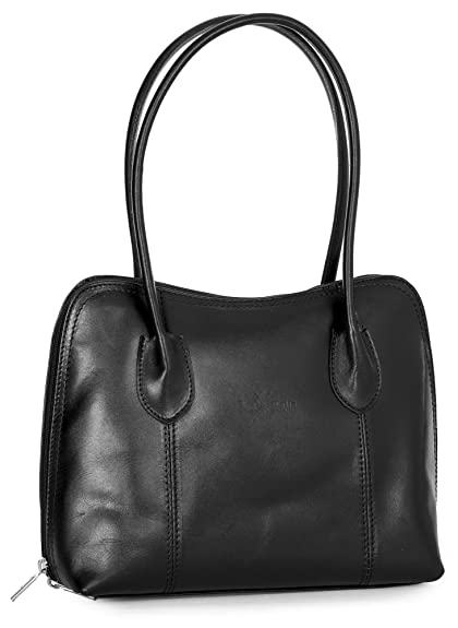 LIATALIA Womens Ladies Genuine Italian Leather Top Handle Medium Satchel  Shoulder Handbag - CHELSEA  Black 9866bb8076f9d