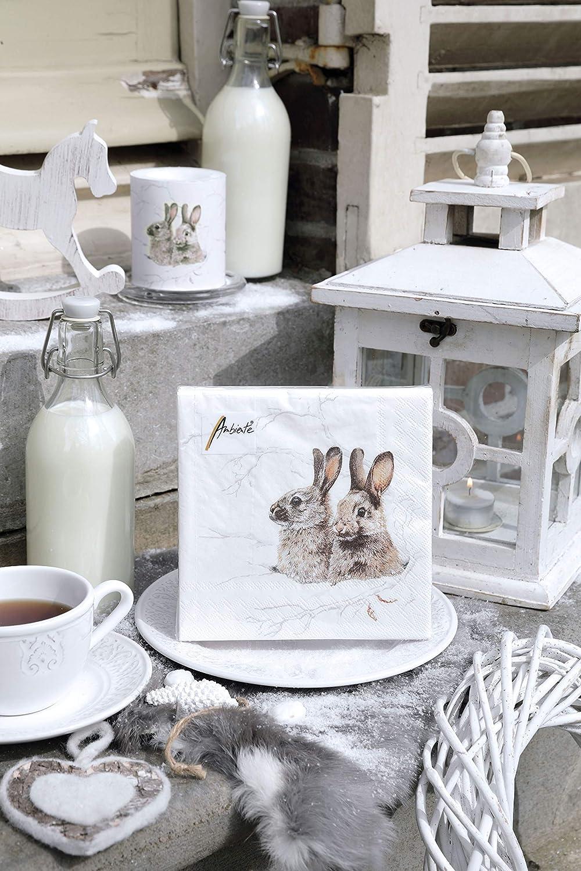 Ambiente Christmas Napkin 33cm Winter Morning Rabbits Serviettes