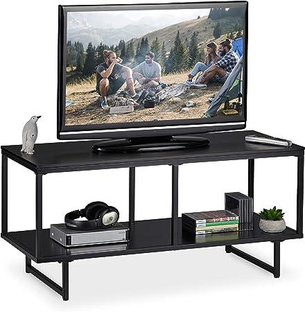 Relaxdays Mueble TV con 2 Repisas, Mesa Televisión, Diseño Moderno, DM y Metal, 50,5 x 110,5 x 45,5 cm, Negro: Amazon.es: Juguetes y juegos