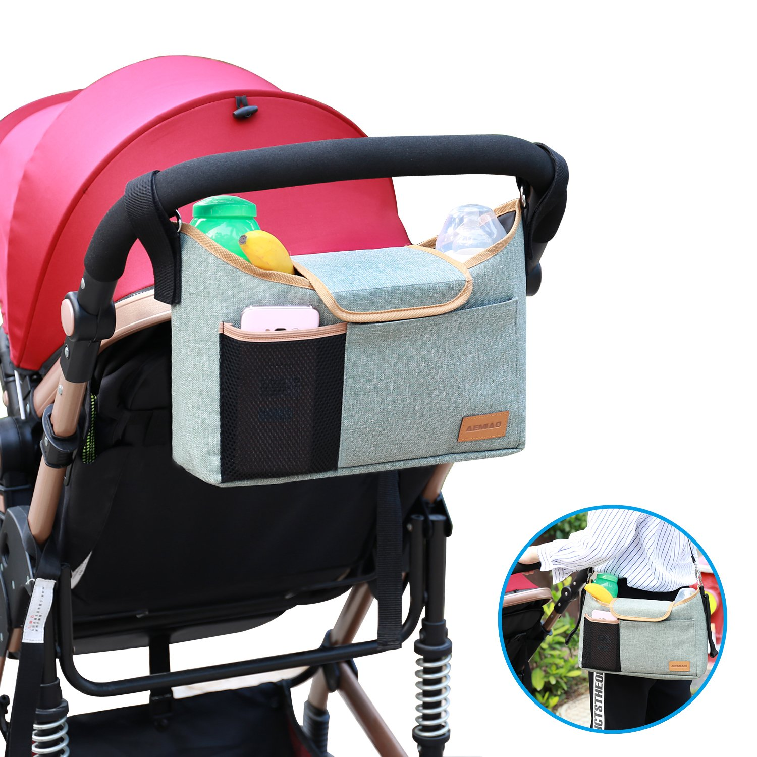 AEMIAO Universal Portable Baby Jogger Stroller Organiser Pram Buggy Storage Bag with Shoulder Strap, Two Cup Holders & Mobile Phone Holder, Extra Storage Space for Toys Food Accessories - Green