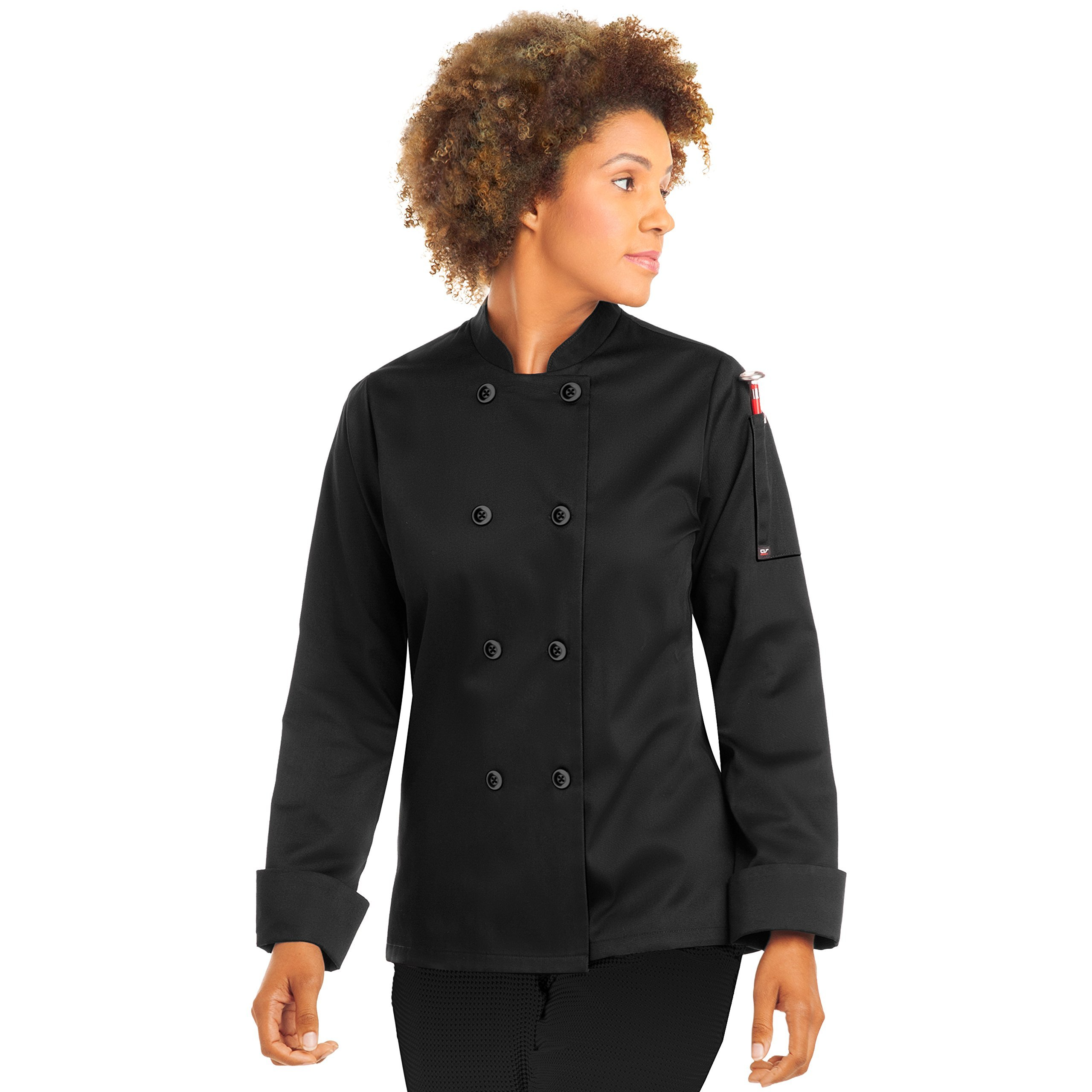 Women's Long Sleeve Chef Coat/Double Breasted/Plastic Button Reversible Front Closure (S-XL, 2 Colors) (Large, Black)