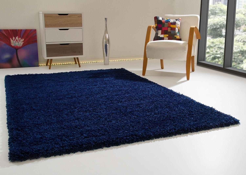 Shaggy Hochflor Teppich Happy XL Langflor Teppich in Blau mit Öko-Tex Siegel, Größe  200x290 cm