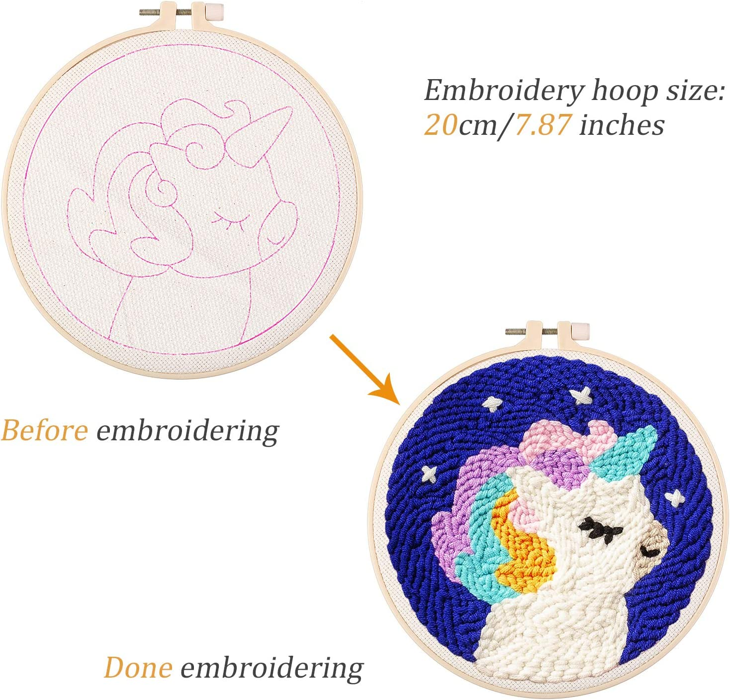 2 Sets Punch Needle Embroidery Starter Kit Stamped Embroidery Stitching Craft Tool Full Set with Embroidery Hoops Punch Needle Pre-Printed Cloth Yarn Scissor Instructions for Beginners DIY Lover