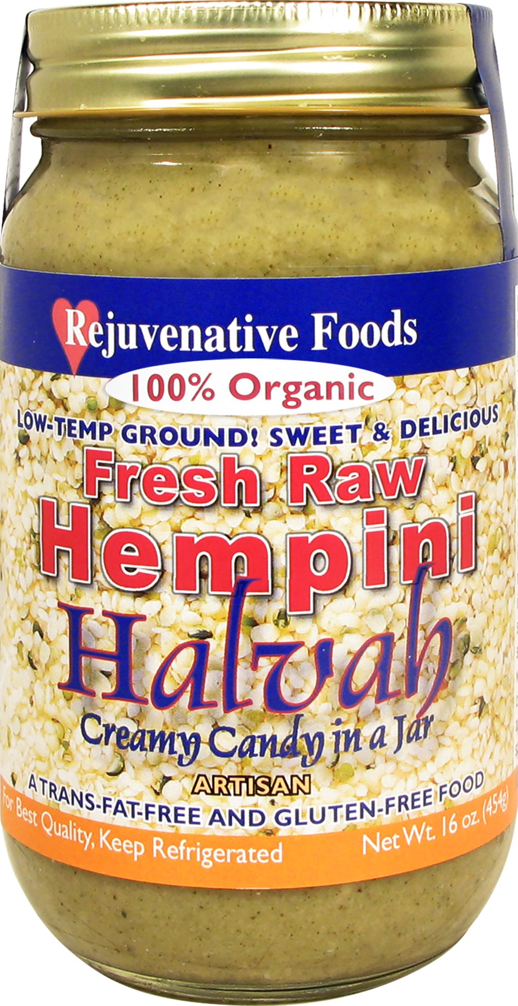 Fresh Raw Organic Hempini Halvah Honey Hemp Seed Sesame Butter Rejuvenative Foods Pure Low-Temp-Ground Candy-In-Glass Smooth-Creamy Vitamin-Protein-Antioxidant-Mineral-Nutrition Certified Organic16 oz