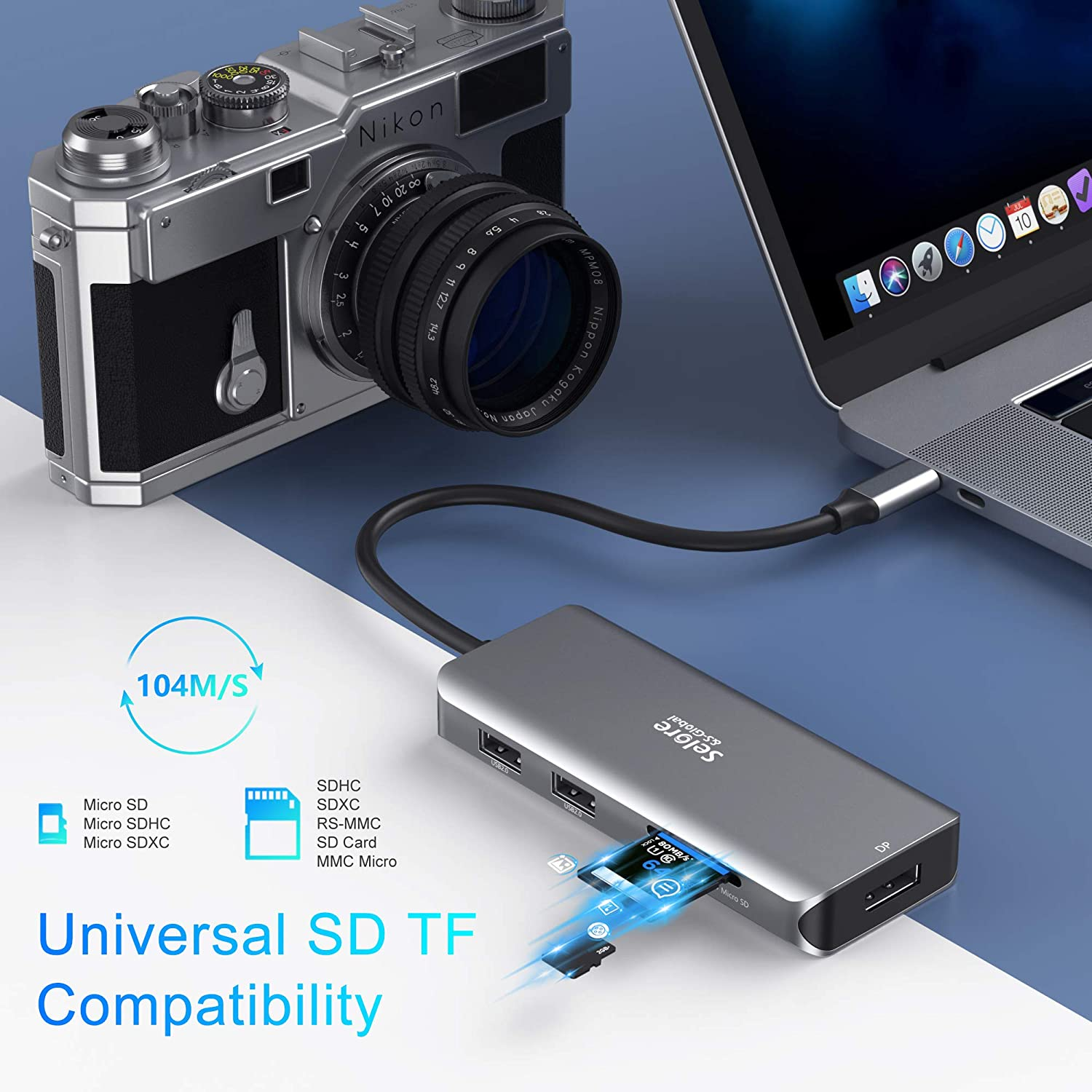 Lenovo Yoga,Huawei Matebook X pro,etc 100W PD for Dell XPS 13//15 USB C Triple Display Docking Station Dual HDMI Adapter,9 in 1 USB-C to Displayport Adapter SD TF Card Reader 2USB 2.0 1 USB 3.0