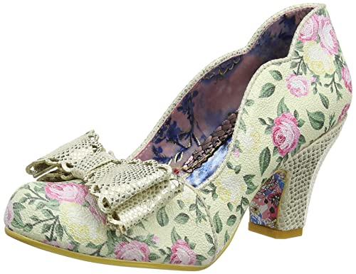 f289ddfac60599 Irregular Choice Women's Deco Dreams Closed-Toe Heels, Off-White (Cream  Floral