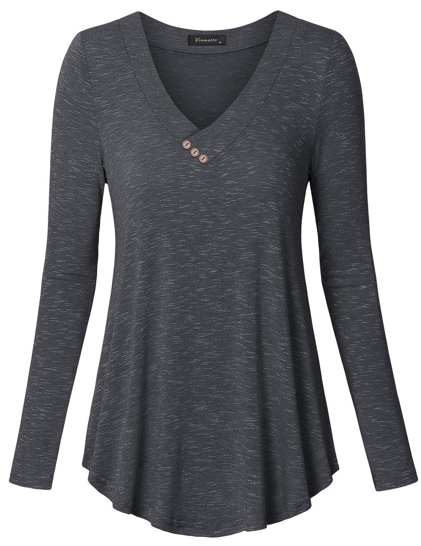 Vinmatto Women's Long Sleeve V Neck Flowy Tunic Top(XL,Black)