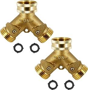 ATDAWN 2 Way Brass Hose Splitter, 3/4