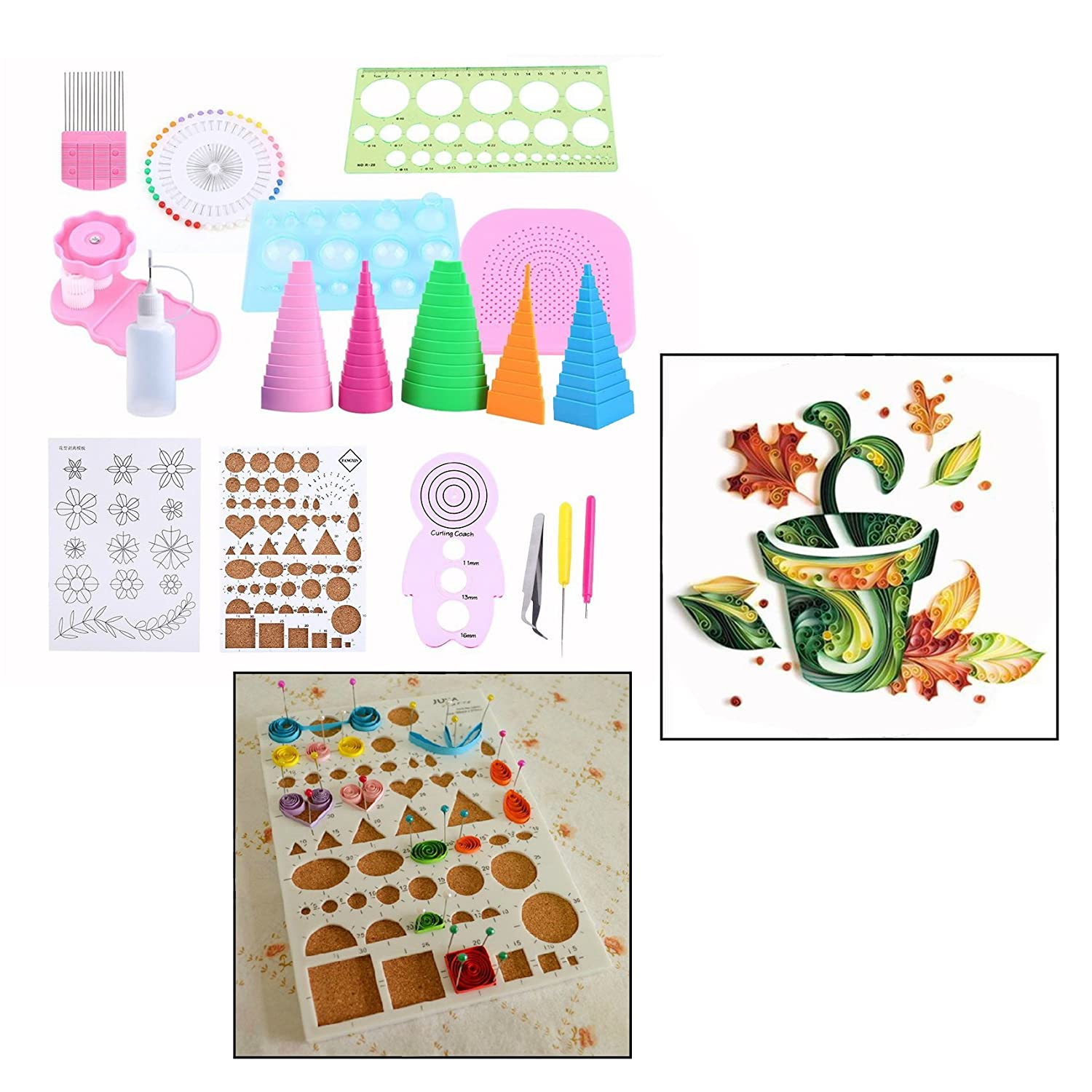 OFKPO Quilling Paper DIY Tools, Paper Craft Rolling Kit for Home Office Decoration