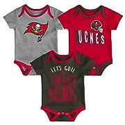 Outerstuff NFL NFL Tampa Bay Buccaneers Newborn & Infant Little Tailgater Short Sleeve Bodysuit Set Red, 3-6 Months