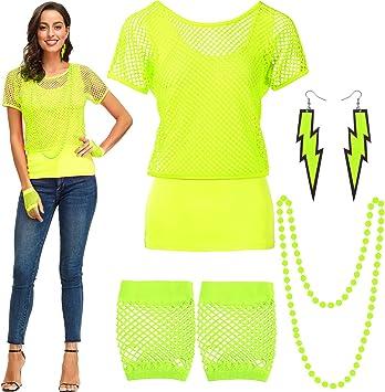 Blulu Conjunto de Disfraces de los 80, Camiseta con Hombros Descubiertos y Rejilla Guantes sin Mangas Pendientes Collar (Verde Fluorescente, L): Amazon.es: Juguetes y juegos