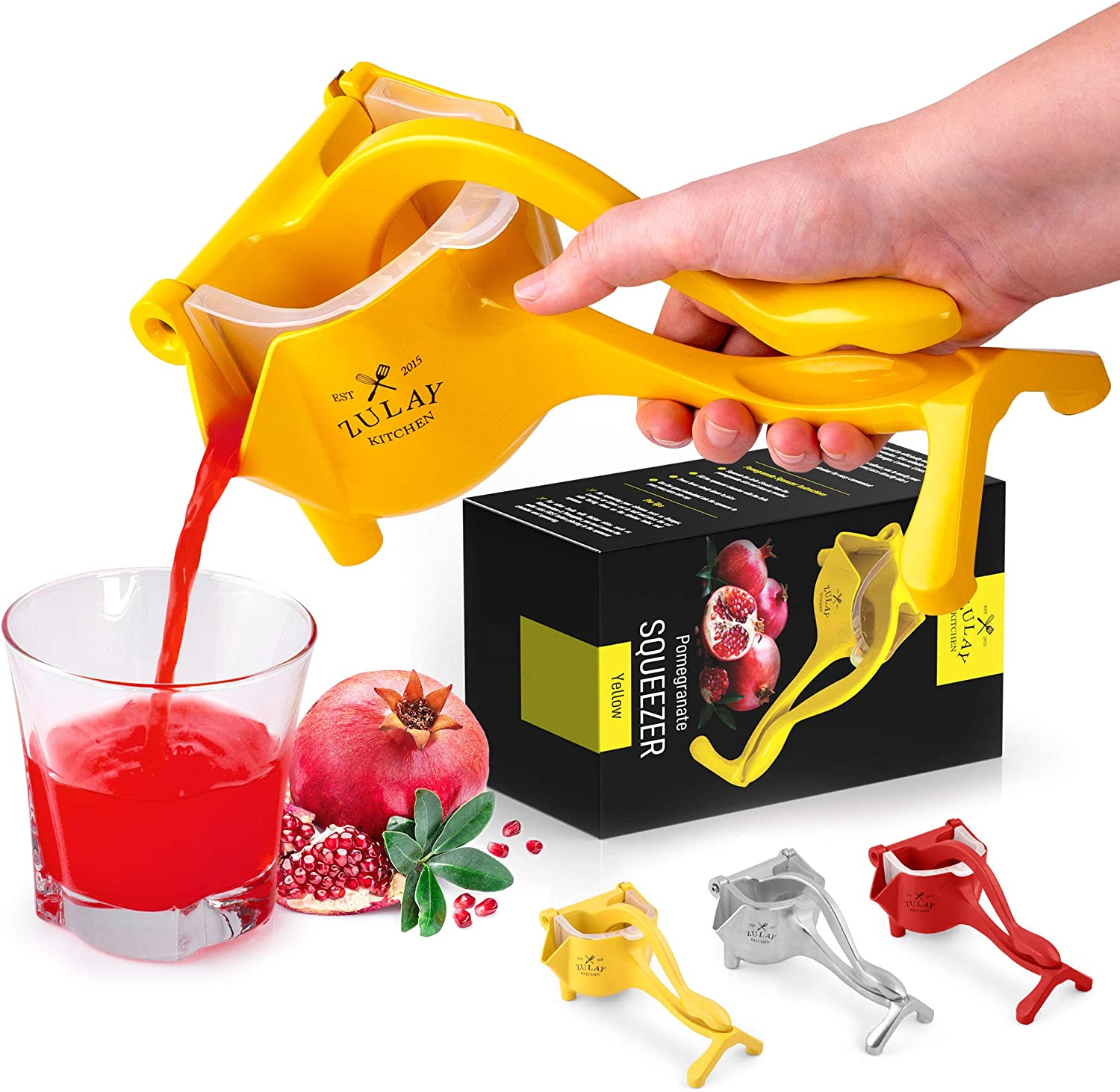 Zulay Fruit Manual Juicer- Heavy Duty Juice Press Squeezer with Detachable Lever & Removable Strainer - Fruit Press & Hand Juicer For Pomegranates, Lemons, Oranges, and More (Yellow)