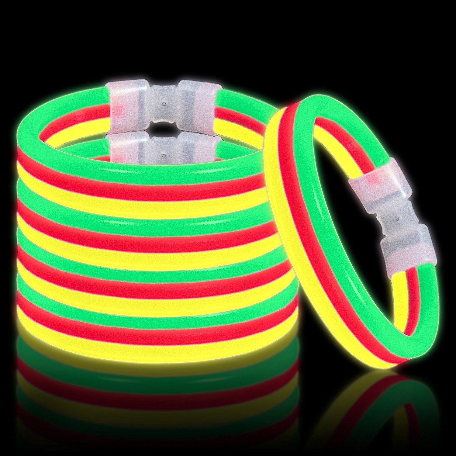 Lumistick Triple Thick Ultra Bright Festival Glow Stick Bracelets | Kid Safe Non Toxic Light Up Glowstick Party Pack | Available in Color Varieties | Glows up to 12 Hours Green Yellow Red 30