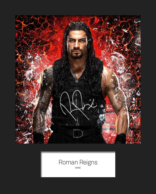 Roman Reigns WWE Nr. 3 Foto, signiert, mit Passepartout, gedruckt, 25 x 20 cm