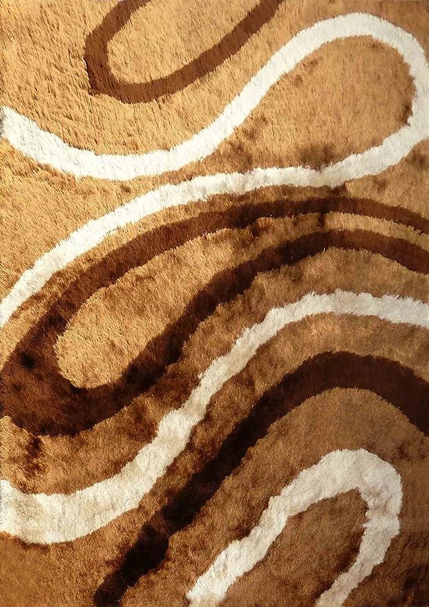 Amazon.com: Alfombra Color Café con Beige Diseno combination hecha a mano estilo moderno suave y lujosa , gruesa pila de tamaño 60